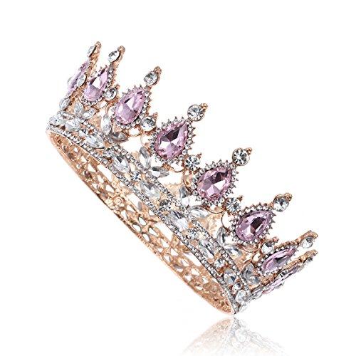 Frcolor - Tiara de novia con cristales de estrás vintage para boda o compromiso (rosa)