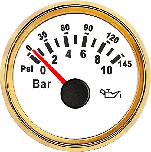 Lyjun 0-5/0-10Bar 52mm Medidor de presión de Aceite Auto Auto Aceite Auto Prensa Medidor de Calibre de Combustible Calibrador de Nivel Motor Marine Marine Yate Barco Galiota de Aceite LED Coche