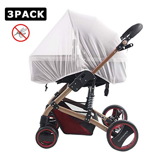 Mosquito Net for Pushchair - Reastar 3 Pack Insect Net Pram Net Bug Net, Machine Washable, Elastic and Breathable - for Pushchairs, Pram, Buggy, Carrycot, Fits Crib (White)