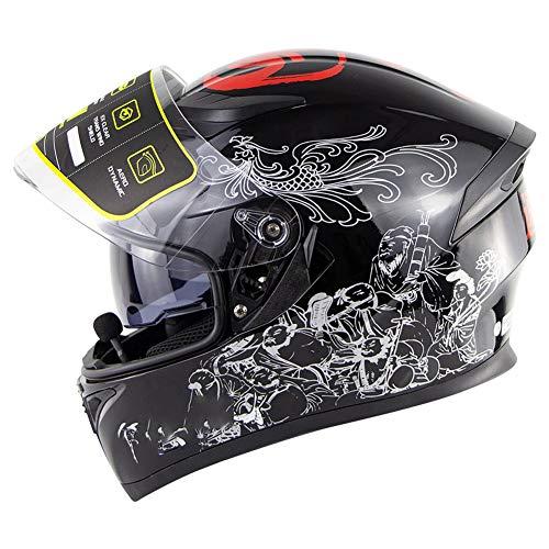YHDQ Bluetooth-Vollhelm (Gold, Silber), HD-Stereoanlage mit Zwei Kameras für Motorräder, geeignet für Fahrten im Freien-Silver-S