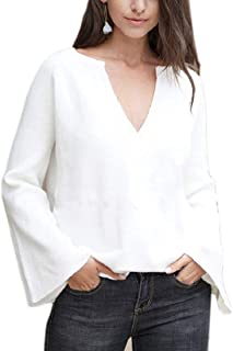 Women's Casual Pullover Deep V-Neck Long-Sleeves Jumper Sweaters
