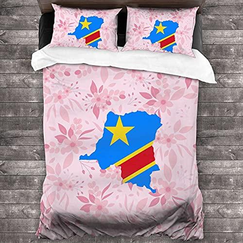 Karten der Demokratischen Republik Kongo & Flaggen, weicher Komfort, 3-teiliges Bettwäsche-Set, Mikrofaser-Polyester, 1 Bettbezug, 2 Standard-Kissenbezüge mit Reißverschluss, Full/Queen-Size-Größe
