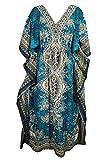 Delena Designs Women's Long Kaftan Dress Maxi Caftan Dress Gown Top Night Dress Teal Blue