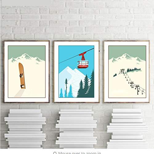 Wohnzimmer Triptychon Vintage Wintersport Dekoration Poster Ski Kunst Poster Wandbilder Skifahren Bild Leinwand Malerei Retro