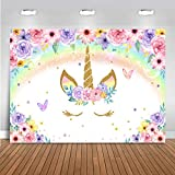 Mocsicka Rainbow Unicorn Backdrop Glitter Gold Unicorn Watercolor Floral Photography Background for Girls Unicorn Theme Newborn Kids Birthday Party Decoration Banner Photo Booth (7x5ft)