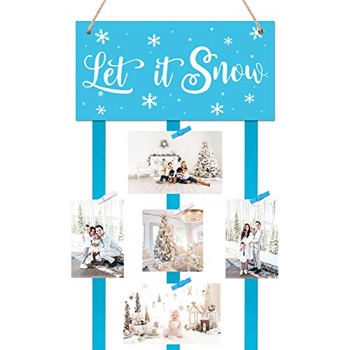 Huray Rayho Snowflake Christmas Card Holder - Let it Snow Hanging Photo Display Includes 20 Photo Clips for Haning Greeting Cards Photos, Winter Holiday Wall Decorations Farmhouse Home Decor