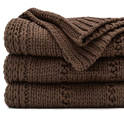 RECYCO Acrylic Solid Color Knitted Throw Blanket 50'x60' Cable Textured Decorative Throw Blanket for Couch Chairs Bedroom Office Home Decor (Brown)