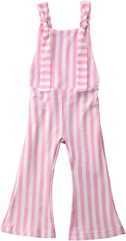 XARAZA Toddler Kids Baby Girl Stripes Bell Bottom Jumpsuit Romper Overalls Pants Outfits