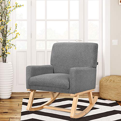 CASART Rocking Chair, Upholstered Lounge Rocker Armchair, Padded Seat Accent Leisure Relaxing Chair for Living Room, Bedroom and Office (Grey)