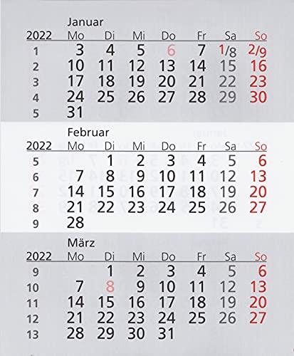 HiCuCo Kalenderblätter/Kalendarium für 2 Jahre (2022 und 2023) passend für 3-Monats-Tischkalender TypW