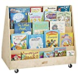 ECR4Kids-ELR-0335 Birch Double-Sided Book Display Stand, Wood Book Shelf Organizer for Kids, 10 Shelves, Natural