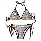 Arte metamórfico Traje de baño de Playa de Dos Piezas para Mujer Tanga Estampado con Cordones Triángulo Bikini Traje de baño Traje de Fiesta