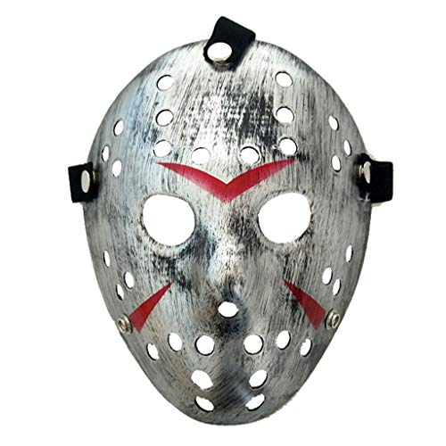 Baipin Máscara de Jason Cosplay Viernes 13 Disfraz Máscara de Fiesta de Halloween para Niños, Adultos (Plástico Plata)