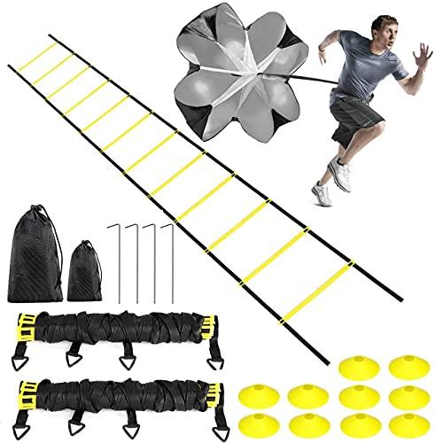 Buluri Escalera de la Agilidad, 12M Escalera de Velocidad Agilidad con Conos de Velocidad & Paracaídas de Resistencia, Training and Agility Set para Futbol Baloncesto Multideporte
