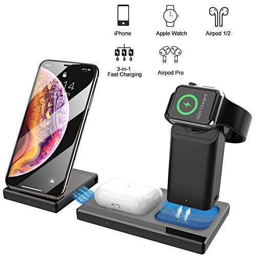Fast Wireless Charger for Airpods, SEZAC 3-in-1 10W Detachable and Magnetic Wireless Charging Stand Compatible with iPhone 11/11 Pro/X/XR/Xs/8 Plus, Apple Watch 5/4/3/2/1, Airpods 1/2/3