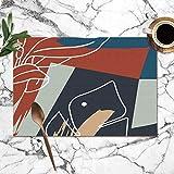 Colorido pañuelo de Seda con Flores Trazos de Pincel Manteles Lavables para Mesa de Comedor Doble Tela de impresión Poliéster Manteles para Mesa de Cocina Juego de 6 tapetes de Mesa 12x18 Pulgadas