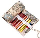 Vianber Lona de Colores Lápiz Wrap Bag Travel Lápices Portátiles Funda de la Bolsa Sostener Para el Artista Estudiantes Suministros (72 Agujeros)