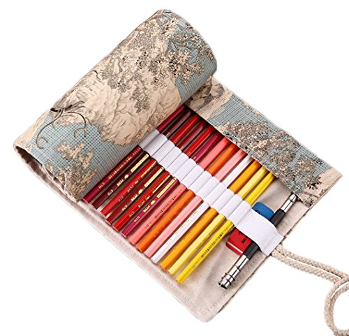 Vianber Lona Colores Lápiz Wrap Bag Travel Lápices