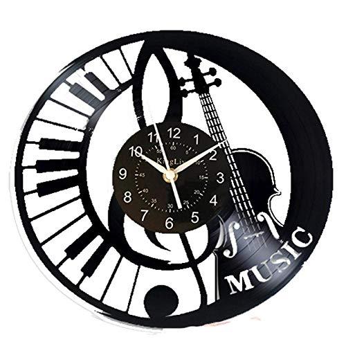 Viool muziek wandklok 12 inch muziek vintage klok vinyl record retro wandklok muziek kunst verjaardagscadeau viool muziek cadeau