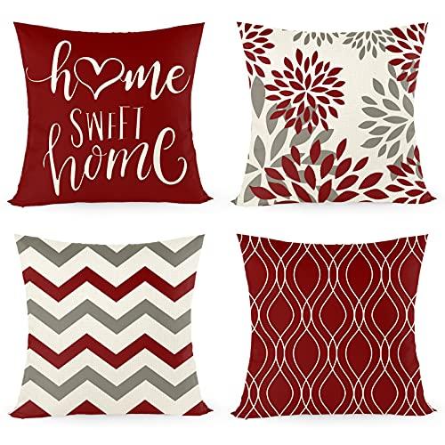 Funda de cojín de 45 x 45 cm, juego de 4 con Home Sweet Home, funda de cojín decorativa con cremallera oculta, cojín de sofá, cojín de sofá de Navidad (rojo)