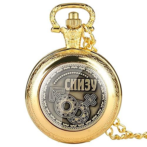 UIOXAIE Reloj de Bolsillo Monedas Rusas decoración del hogar Moneda Bitcoin réplica de imitación de Metal Antiguo decoración de Fiesta en casa Reloj de Bolsillo de Cuarzo Regalos, Oro de Lujo