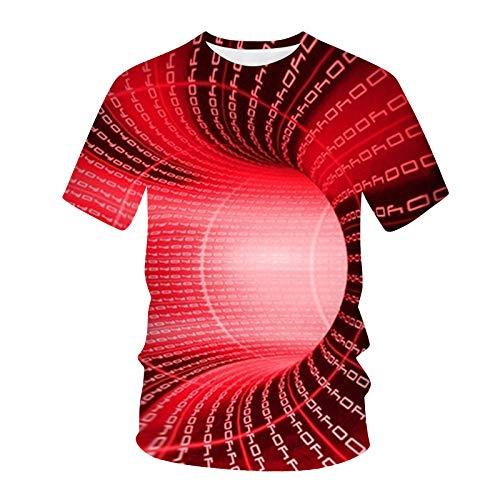 T-Shirt Top Bluse Männer Frauen Frühling Sommer Casual Slim 3D Printed Kurzarm (L,2rot)