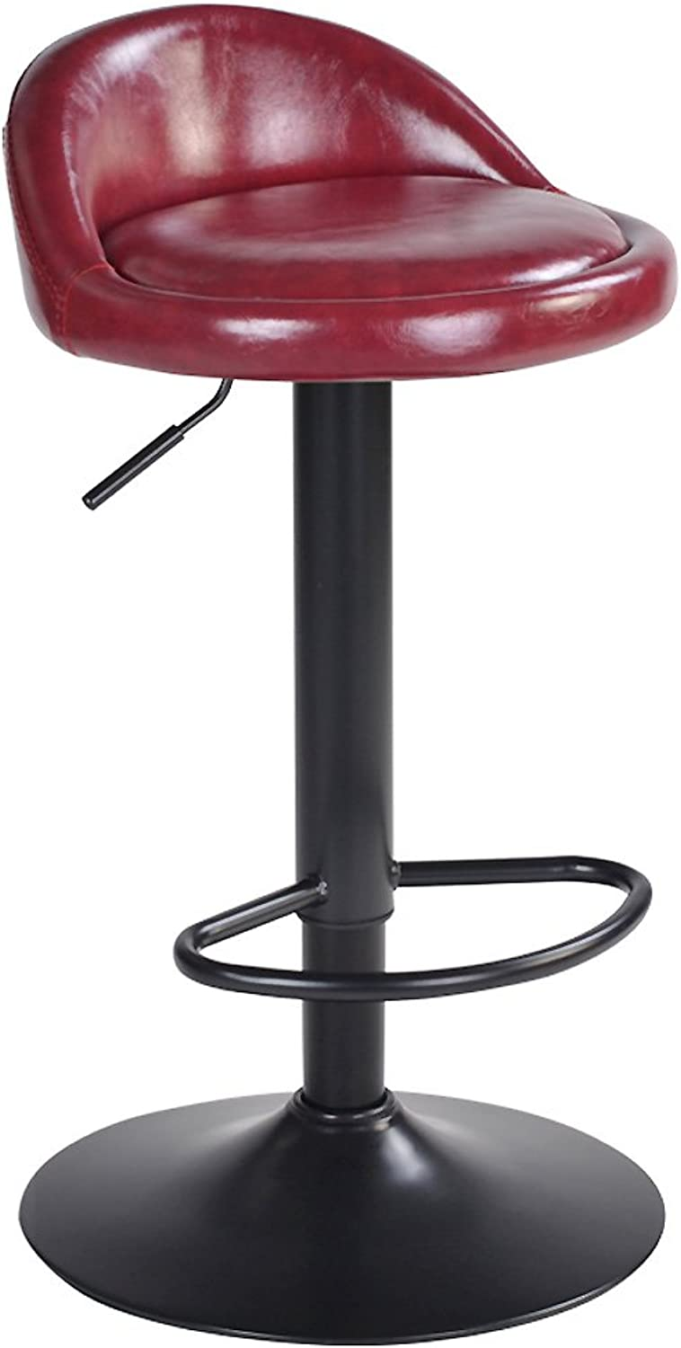 Swivel Bar Stools Chairs, Modern Adjustable Height Kitchen Chair High Chairs Bar Stools with Back Leatherette Exterior Barstools-C