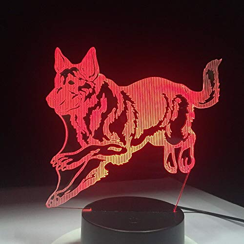 Wfmhra German Shepherd Running Dog 3D Night Lamp Hologram 3D Decor Lamp Colorful Table Desk Lights Birthday Gift for Children Friends