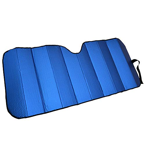 Motor Trend Front Windshield Sun Shade - Accordion Folding Auto Sunshade for Car Truck SUV - Blocks UV Rays Sun Visor Protector - Keeps Your Vehicle Cool - 58 x 24 Inch (Blue)