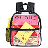 Clear Backpack Mini Stadium Approved, Cute Soft Shoulder Strap Waterproof lightweight Transparent See Through Backpack Small for Work, Travel, Concert, Beach & Sport Events(Black)