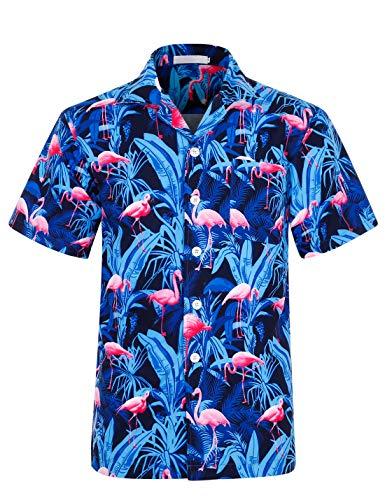 iCKER Herren Hawaiihemd Strandhemd 3D Drucken Lässig Kurzarm Sommer Hawaiihemd Freizeithemden