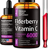Elderberry Syrup - Organic Elderberries Extract 6000mg - Immune Support Sambucus Elderberry Syrup - Formulated in USA - Black Elderberry with Vitamin C - Sambucus Elderberry Syrup for Kids & Adults