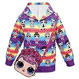 ALAMing LOL Surprise Kapuzenjacke, modisch, bedruckt, für Mädchen, Herbst-,Wintermantel, Jacke, Kinderbekleidung Gr. 7-8 Jahre, Stil 23