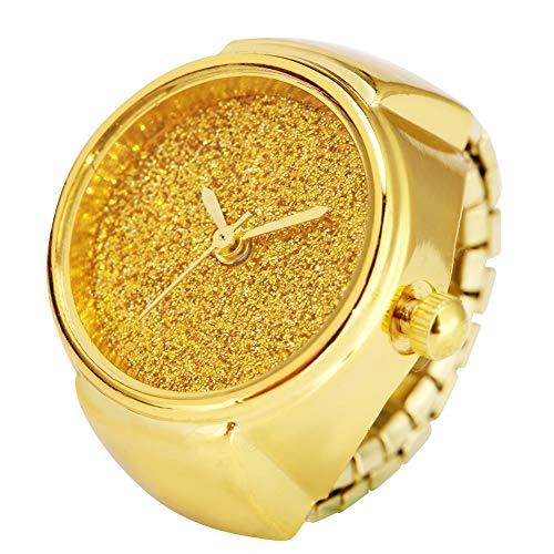 Reloj de anillo de plata brillante con purpurina para mujer, anillo elástico para damas, resistente al desgaste de aleación reloj para niñas