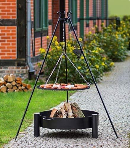 BlackOrange Barbecue suspendu avec brasero Cup Ø 60 cm, barbecue pivotant Ø 50 cm et manivelle, trépied hauteur 180 cm