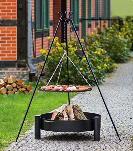 BlackOrange Barbecue suspendu avec brasero Ø 70 cm, barbecue oscillant Ø 60 cm et manivelle, trépied Hauteur 180 cm