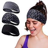 Baozun Sport Stirnband Schweißband Anti Rutsch 3 Pack für Herren und Damen für Jogging, Laufen,...