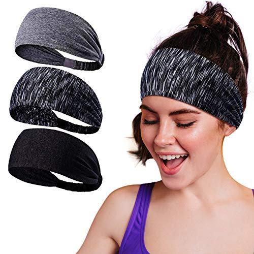 Baozun Sport Stirnband Schweißband Anti Rutsch 3 Pack für Herren und Damen für Jogging, Laufen, Wandern, Fahrrad- und Motorrad Fahren
