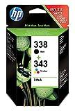 HP 338/343 SD449EE pack de 2, cartouches d'encre d'origine, noir et trois couleurs (cyan, magenta et...