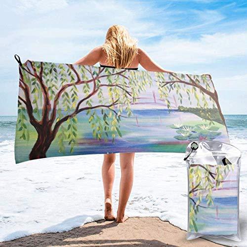 Toalla de Playa 27.5 'X 55',Palm Beach Microfibra de Arena Ultra Suave Portátil Absorbente de Agua Microfibra múltiple Sin Arena Toalla de Playa Manta-Verano