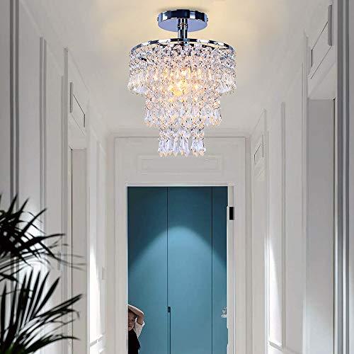 FRIXCHUR Modern Mini Crystal Chandelier Flush Mount Ceiling Light 3 Tiers Raindrops Crystal Pendant Lighting Fixture Decoration for Bedroom Hallway Living Room,E26 Base