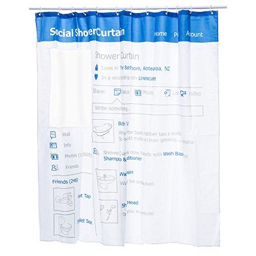 GOODS+GADGETS Social Media Duschvorhang mit Fenster - Facebook Fans Badewannenvorhang - Anti Schimmel Wannenvorhang 180 x 180 cm