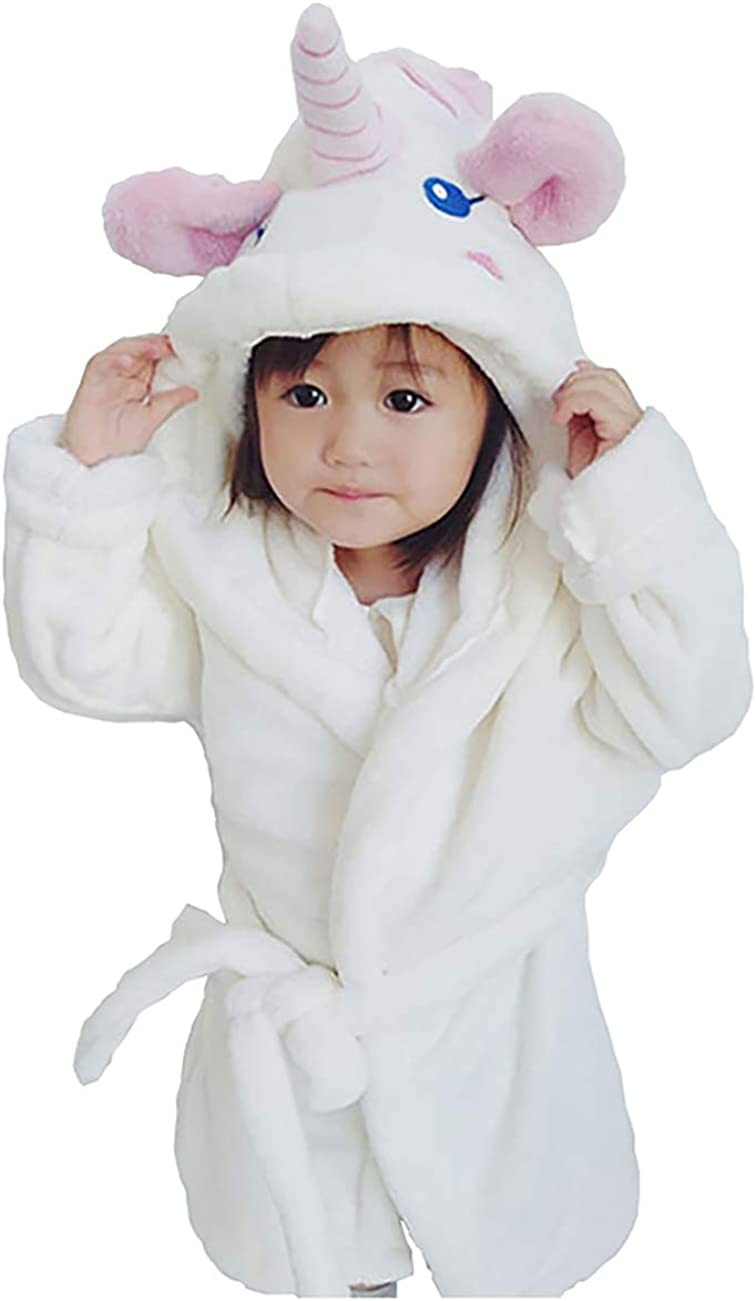 CYTCreation Unisex Baby Plush Bathrobe Animal Face Unicorn Hooded Robe Bath Towels