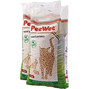 PeeWee 28 L / 18 KG Holzstreu Katzenstreu Einstreu Bio Öko Streu Pellets (2x9kg) 3