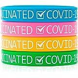 Covid 19 ワクチン加工ゴムリストバンド Covid リストバンド 4パック Covid 19の他人を見せるために使用 大人、ティーン、ユースサイズの手首にフィット