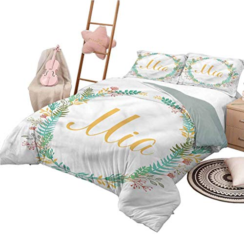 Nomorer Quilt Set with Sheets Full Size Mia Soft Lightweight Coverlet for All Season Frame of Flowers Ferns