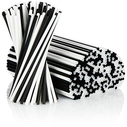 COM-FOUR® 500x Trinkhalme - Strohhalme in schwarz/weiß - Lebensmittelecht (500 Stück - schwarz/weiß)
