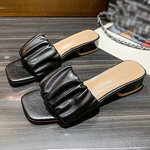 Hwcpadkj Sandalia Plana con Tiras Deslizantes - Slides-Sandals Mujer Chanclas, Sandalias y Pantuflas de Playa con Punta Abierta y tacón Alto Planas,Negro,36