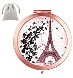 Dynippy Compact Mirror Round Rose Gold Makeup Mirror Folding Mini Pocket Mirror Portable Hand Mirror Double-Sided with 2 x 1x Magnification for Woman Mother Kids Great Gift (Eiffel Tower)