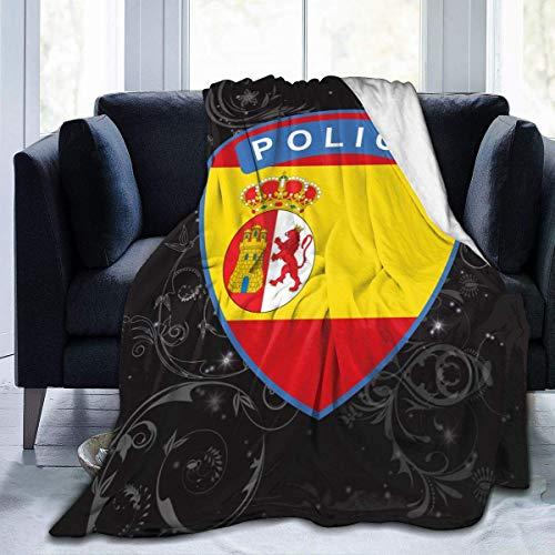 AEMAPE Flagge von Spanien Polizei Druckdecke Ultra Soft Micro Fleece Decke